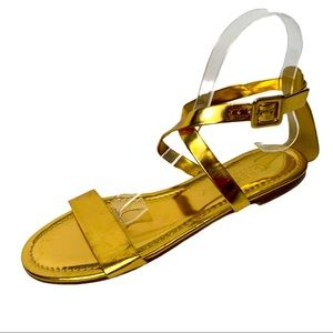 J Crew Gold Leather Flat Sandals Size 9